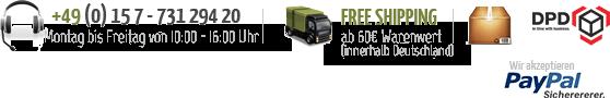 Wir versenden mit DPD und ab 45 € innerhalb Deutschland versandkostenfrei !!